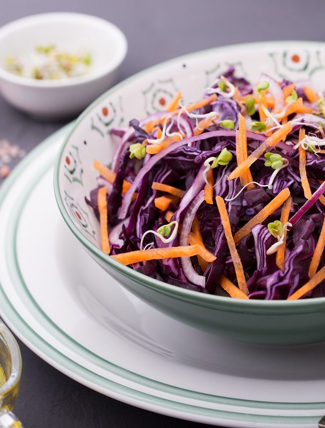 Salad with Cabbage, Carrot & Fresh Onion